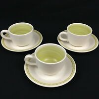Set of 3 Vintage Cups and Saucers by Franciscan Earthenware HACIENDA GREEN USA
