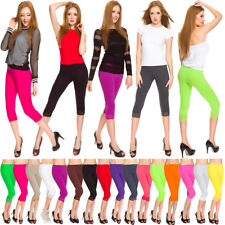 Womens Cropped Leggings Lace Cotton Ladies 3/4 Comfy Casual Pants Size 8-22