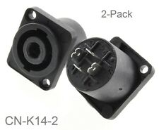 2-Pack 4-Pole Chassis Panel Mount Speakon Receptacle with 2-hole Flange