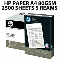 HP A4 80GSM WHITE COPY OFFICE PRINTER COPIER PAPER 2500 SHEETS 5 REAM BOX