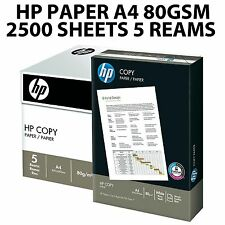 HP A4 80GSM WHITE COPY OFFICE PRINTER COPIER PAPER 2500 SHEETS 5 REAM BOX