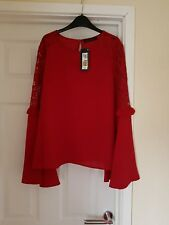 LOVELY RED BLOUSE WITH FLUTED SLEEVES WITH LACE SIZE 10 FROM M&S COLLECTION