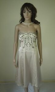 WAREHOUSE Cocktail Party Dress Stunning Silvery Gold Strapless. Evening Size 12