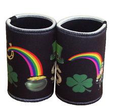 St Patricks Day - Lucky Stubby Holders set of 2 Black background