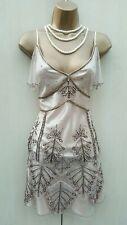 UK 10 KAREN MILLEN Gold Romantic Tulle Beaded Skirt & Camisole Top Suit Dress