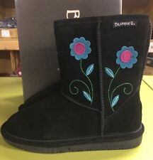Adorable Bearpaw Buttercup Round Toe Suede Winter Boot in Black Girls Size 13