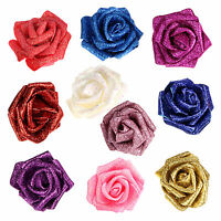 100 PCS Foam Rose Artificial Flower Glitter Heads Bridal Bouquet Wedding Decor