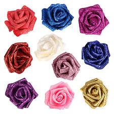 100 PCS Foam Rose Artificial Flower Glitter Heads Bridal Bouquet Wedding Decor