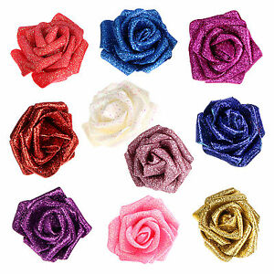 Artificial Flowers Foam Rose Heads 18cm Flowers with Glitter Sparkling for Decor