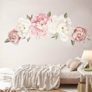 Nursery Pink Peoney Rose Flowers Garland Arch Decor DIY Removable Wall Decals