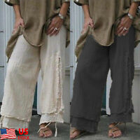 Women Ladies Cotton Linen Solid Wide Leg Pants Loose High Waist Capri Trousers