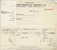 Platinum Products Company Inc. %th Ave N.Y. 1937 Fluid Invoice/Receipt Ref 37402