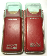 Lot of 2 SWATCH IRONY Watch Boxes Swiss *empty* Red w/ Blue Clear Tops