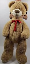 "Huge 55"" Chrisha Playful Plush Giant Stuffed Teddy Bear Light Brown with Red Bow"