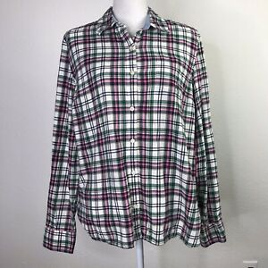 Tommy Hilfiger Women's Long Sleeve Shirt Cotton Plaid Button Up Casual Size XL