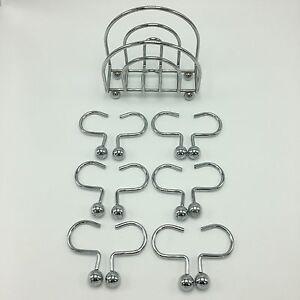 12 Chrome Ball Stainless Steel Shower Curtain Hook Rings AND 1 Napkin Holder