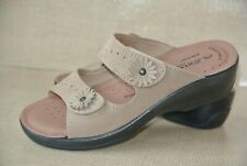 NEW Flexus by Spring Step Womens 36 / 5.5 - 6 Tan Leather Flower Slides Sandals