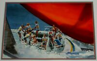 DEL NOCE SIGNED ORIGINAL WATERCOLOR PAINTING OF PEOPLE IN BOAT