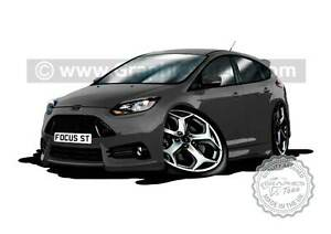 Focus ST Caricature Car Art Cartoon A4 Print in Grey - Ideal Personalised Gift