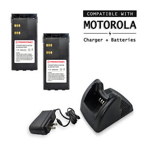 2x Batteries & Charger for Motorola Two-Way Radios HNN9008, HT750 GP380 PRO7150
