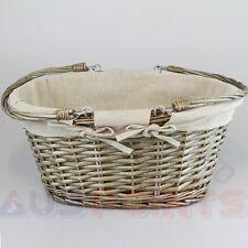 Willow Basket Wicker Storage Box Gingham Liner Cane Designed Swing Handle