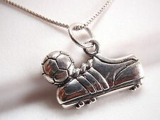 Soccer Ball and Shoe Necklace 925 Sterling Silver Corona Sun Jewelry Football