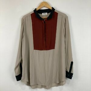 Mela Purdie Womens Top Size 16 Beige Long Sleeve Collared Button