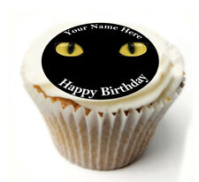 Cupcake Topper BLACK CAT personalised Rice, Icing sheet 912