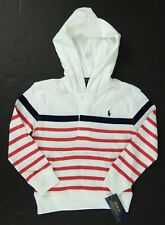 Polo Ralph Lauren Boys White Red Blue Hoodie Lightweight Cotton Pullover Size 3T