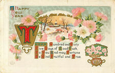 A Happy New Year December 28 1911 Postcard Town Church Bridge In Snow O2