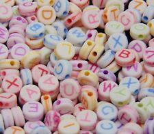 100 Pcs -  7mm Pastel Colour Alphabet Letter Beads Round FREE UK P+P K171
