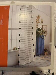 🌹 OPALHOUSE Contrast Stripe Light Filtering Curtain Panel Tassel Black/Whites