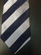 Giorgio Armani 100% Silk Neck Tie Blue & Silver Stripes Italy