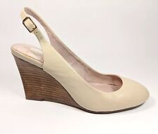 Jasper Conran Ivory Leather Wedge Heel Slingback Shoes Uk 4 Eu 37 Super...