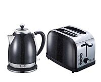 Modern Black Diamond Sparkle 1.8L Electric Kettle 2 Slice Toaster Breakfast Set