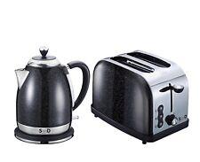 Modern Black Diamond Sparkle 1.8L Electric Kettle 2 Slice Toaster Breakfast Set
