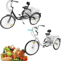 """Adult Tricycle freedom adults 24"""" wheel 6 speed cargo trike tricycle black/white"""