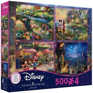 Alice Belle Mickey Minnie 4-in-1 500 Piece Puzzle Thomas Kinkade Disney Studios