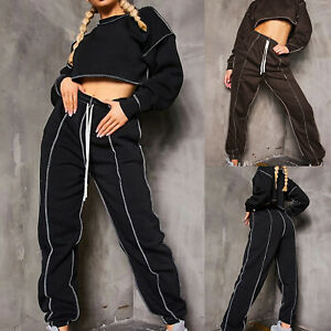 Women's Casual Long-sleeved Short Top and Trousers Sports Suits Two-piece