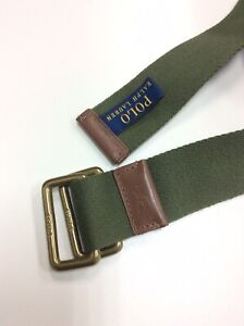 Polo Ralph Lauren Green D Ring Big Pony Brown Leather Belt Small S