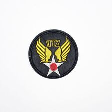 VTZ Wing Round Badge (Iron On) Embroidery Applique Patch Sew Iron Badge