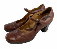 Clarks Artisan Brown Leather Mary Jane Pumps Cushion Shoe Bed Womens Sz Us 7.5 M