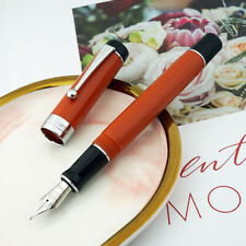 Jinhao 100 Centennial Resin Fountain Pen Red with Silver Clip Ef/F/M Bent Nib