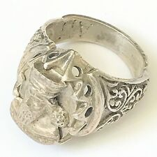LARGE ANTIQUE SILVER HEAVY FILIGREE VINTAGE GOTHIC STYLE RARE RING