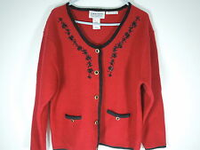 WOMENS wool Holiday sweater hand embroidered cardigan red and black trim SZ Lrg