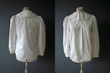 Vintage 80s White Poly Cotton Pilgrim Collar Blouse S Buy 3+ Items for FREE Post