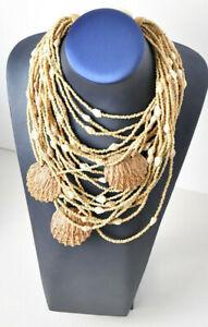 Gerda Lynggaard Monies Vintage Shell Wood Multi Strand Statement Necklace