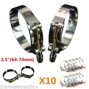 """10pc 64-74mm T-Bolt Silicone Turbo Pipe Hose Coupler Stainless Steel Clamps 2.5"""""""
