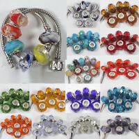 10Pcs Colorful Handmade Murano Lampwork Glass Beads Fit European Charm Bracelets