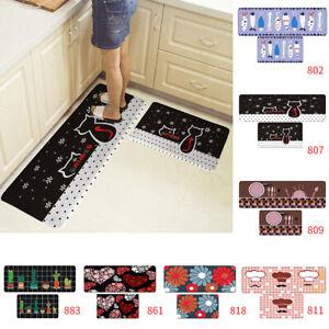 2 Pcs Non-Slip Home Kitchen Floor Mat Rubber Backing Doormat Runner Rug Set